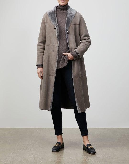 Sleek Merino Shearling Long Coat