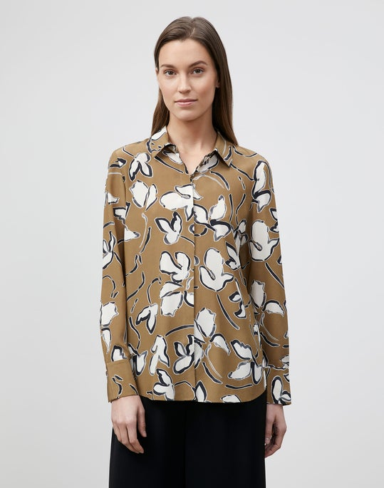 Tossed Vine Print Silk Scottie Blouse