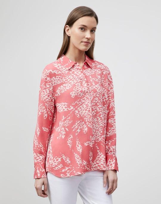 Bower Print On Drape Cloth Scottie Blouse