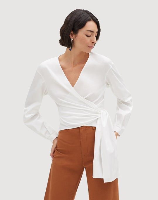 Italian Stretch Cotton Basilla Wrap Blouse