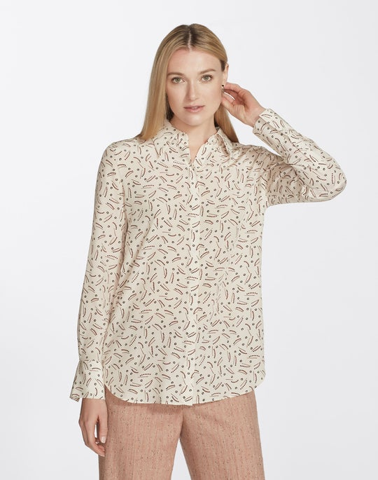 Petite Successive Shapes Print Silk Julianne Blouse