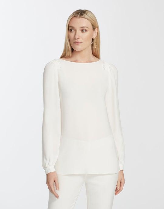 Plus-Size Silk Double Georgette Albright Blouse