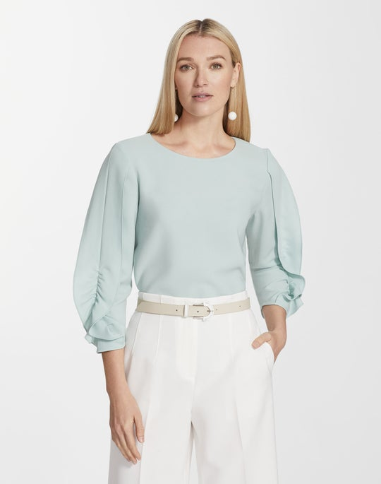 Plus-Size Finesse Crepe Perrin Blouse