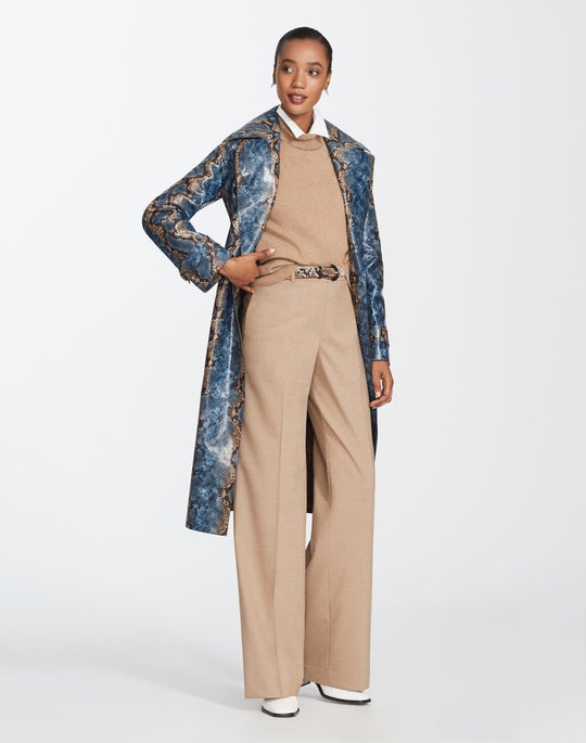 Hand-Painted Snake Print Leather Michael Trench Coat