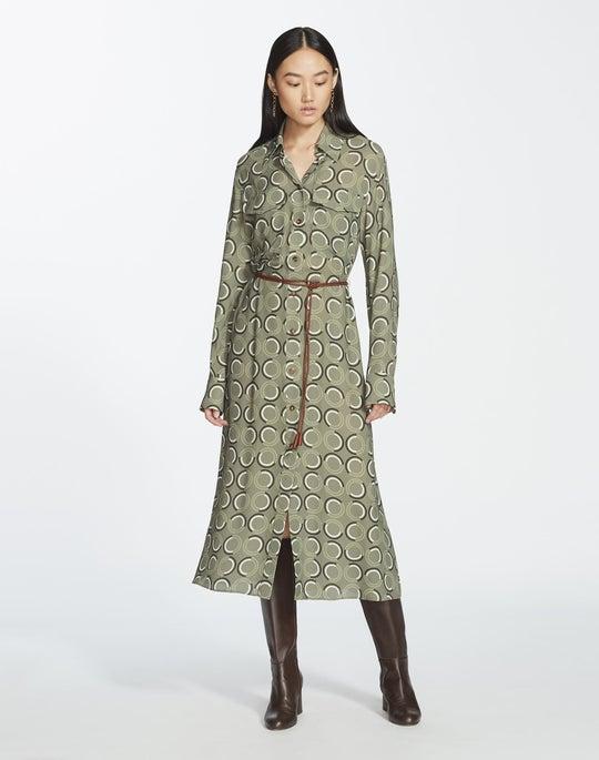Modernist Circles Print Fluid Cloth Mandalyn Shirtdress