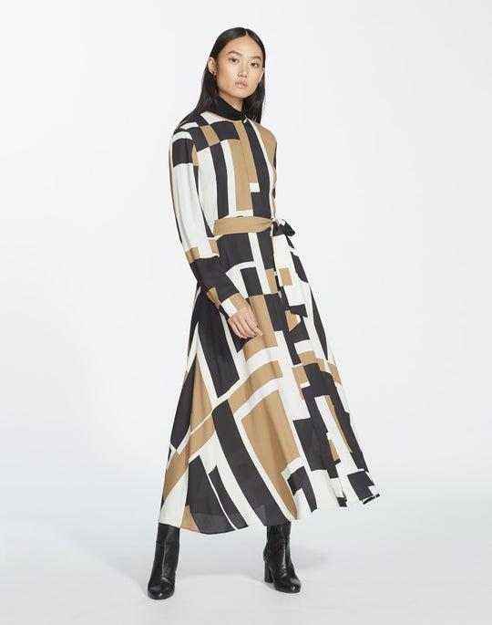 Graphic Block Drape Cloth Emberly Dress