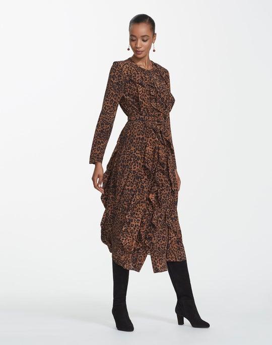 Leopard Print Silk Alexandra Dress
