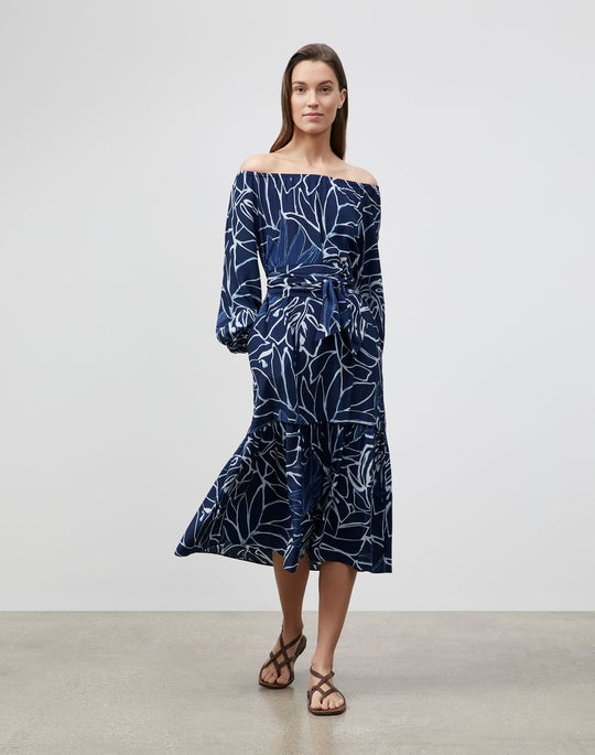 Reverse Porcelain Print On Silk Aurora Dress