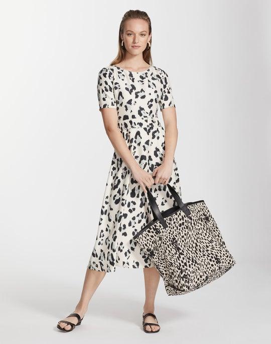 Painted Leopard Print Silk Amanda Dress