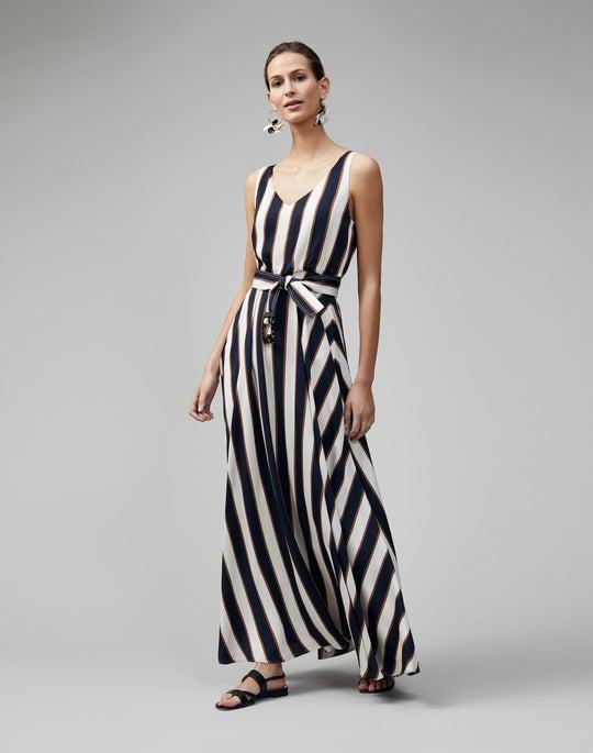 Seaside Stripe Drape Cloth Memphis Dress