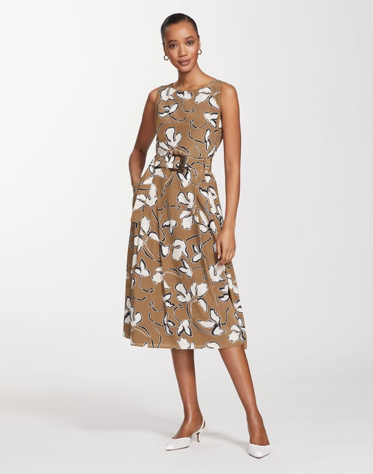 Tossed Vine Print Silk Gracie Dress