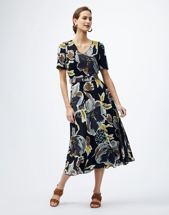 Poppy Print Silk Roland Dress