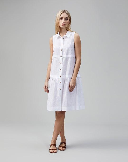 Micro Grid Cotton Eyelet Serena Dress