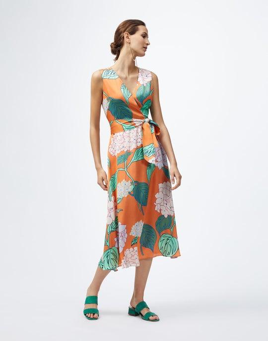 Blooming Hydrangea Print Drape Cloth Knoell Dress