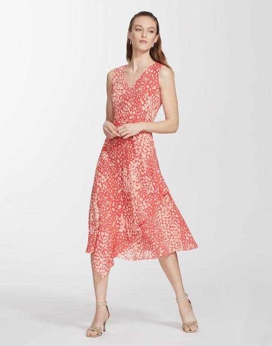 Petite Speckled Print Silk Telson Dress