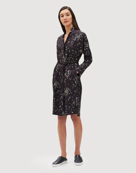 Decorative Dashes Silk Twill Calleigh Shirtdress/Duster