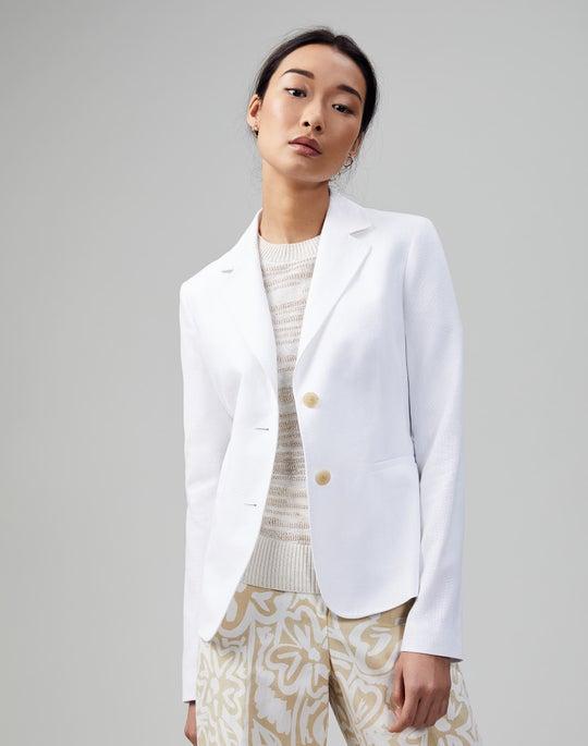Italian Cotton-Linen Weave Fitz Blazer