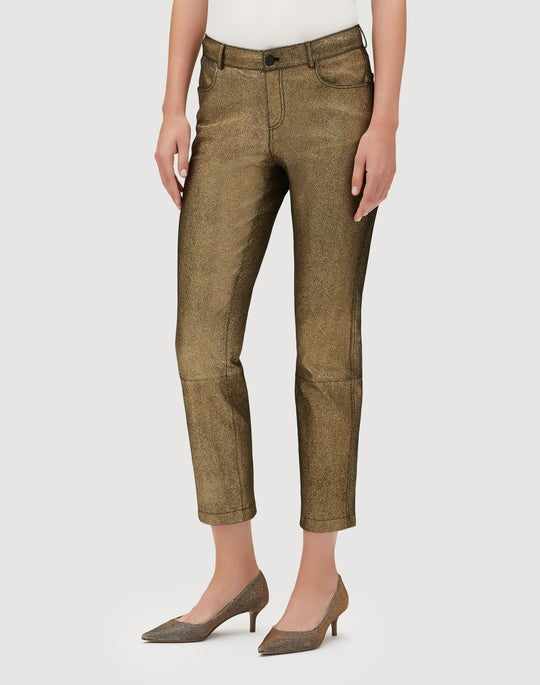 Petite Stretch Shimmer Suede Cropped Mercer Pant