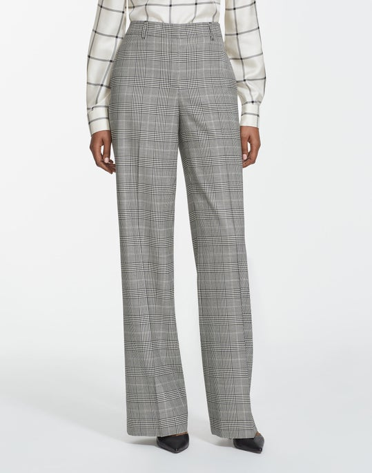 Houndstooth Plaid Dalton Wide-Leg Pant