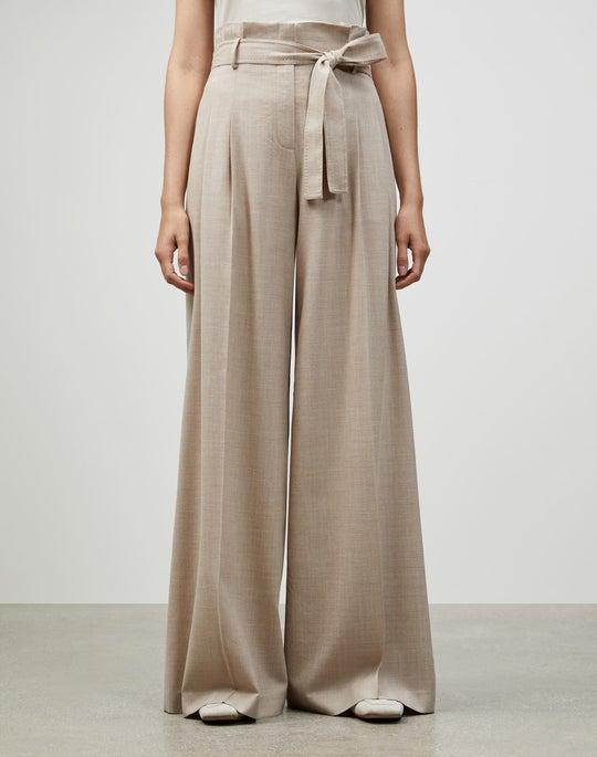 Italian Superlative Mélange Wool Tillary Wide-Leg Pant