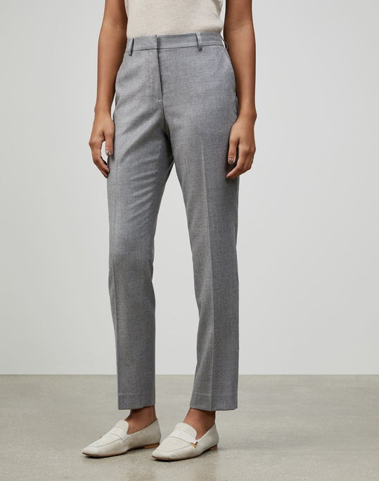 Timeless Italian Wool-Silk Suiting Clinton Ankle Pant
