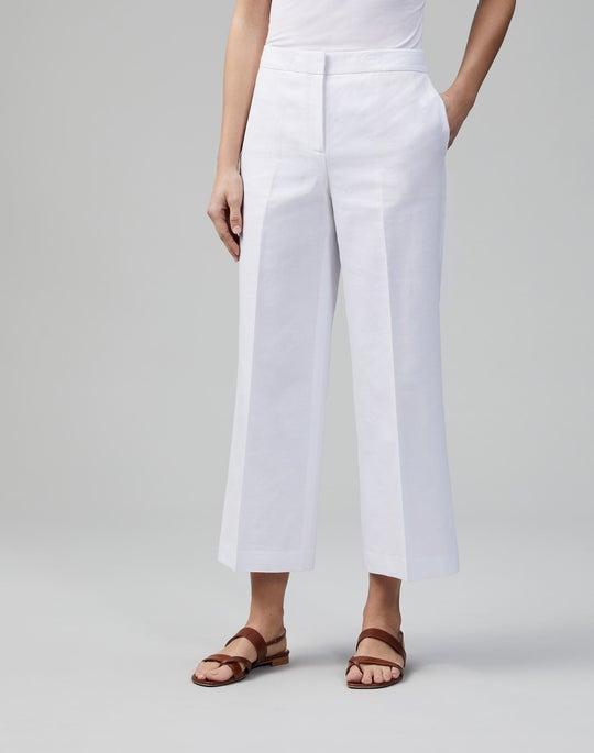 Italian Cotton-Linen Weave Cropped Dalton Wide-Leg Pant
