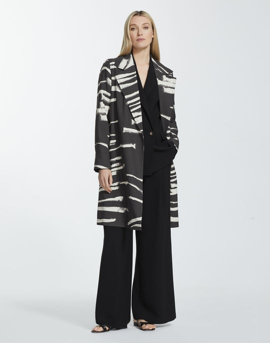 Painted Zebra Stripe Print Drape Cloth Mayfair Trench Coat