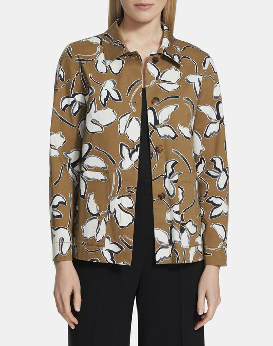 Tossed Vine Print On Stretch Cotton Wellesley Jacket