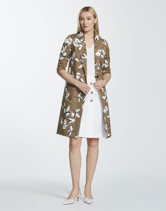 Tossed Vine Print Stretch Cotton Nicholas Trench Coat