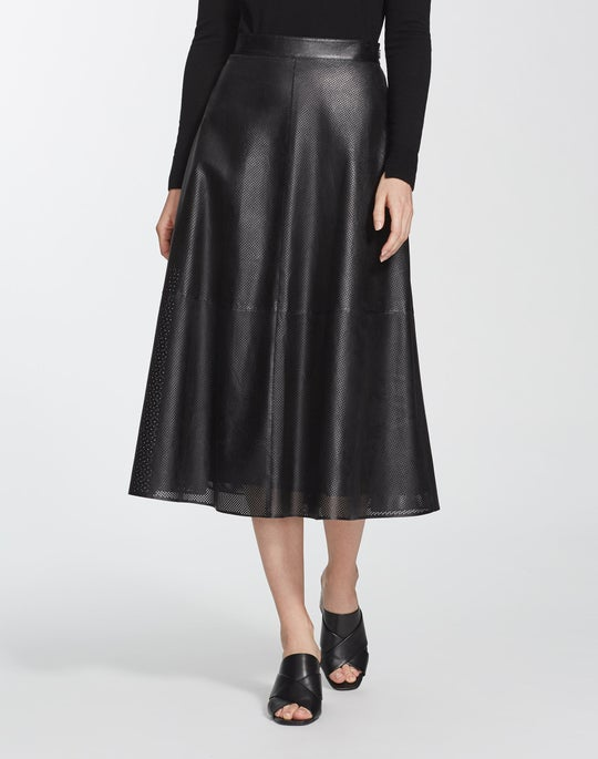 Lacquered Lambskin Perforated Celestia Skirt