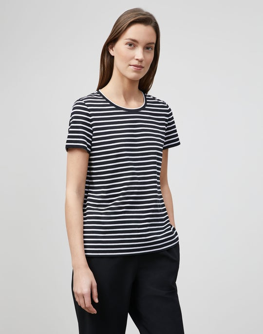 Modern Striped Tee In Cotton Jersey