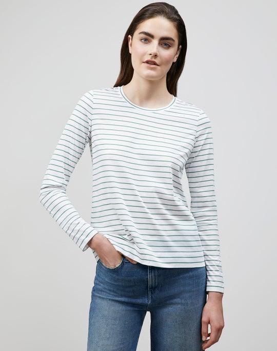 City Stripe Cotton Jersey Long Sleeve Modern Tee