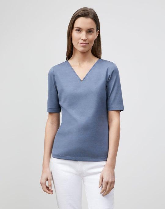 Swiss Cotton Rib V-neck Top