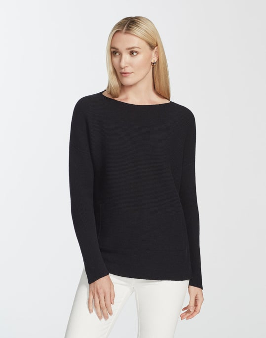 Cozy Flannel Ribbed Bateau Neck Sweater