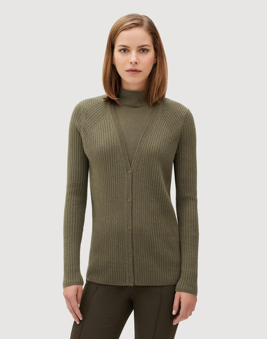 Plus-Size Cashmere Button Front Ribbed Cardigan