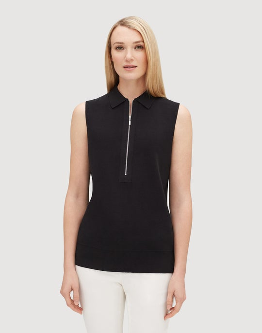 Cotton Crepe Yarn Fitted Sleeveless Polo Sweater