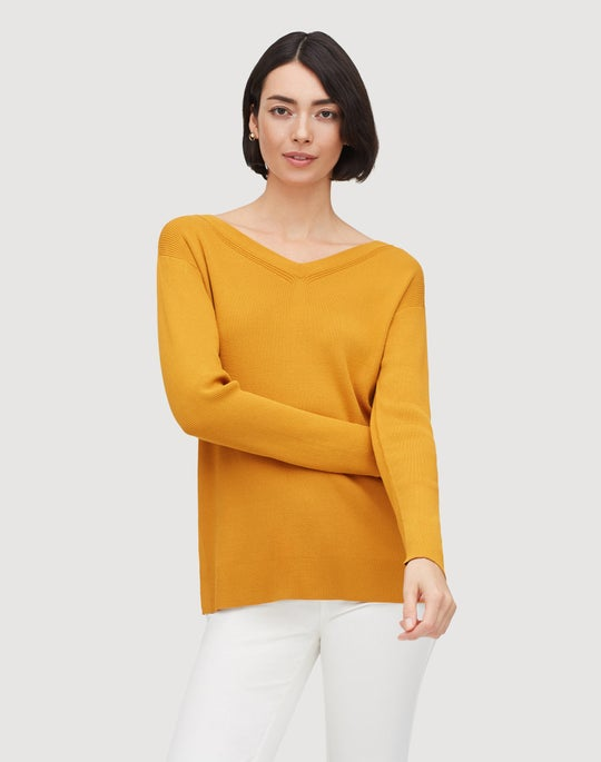 Plus-Size Matte Crepe Wide V-Neck Relaxed Sweater