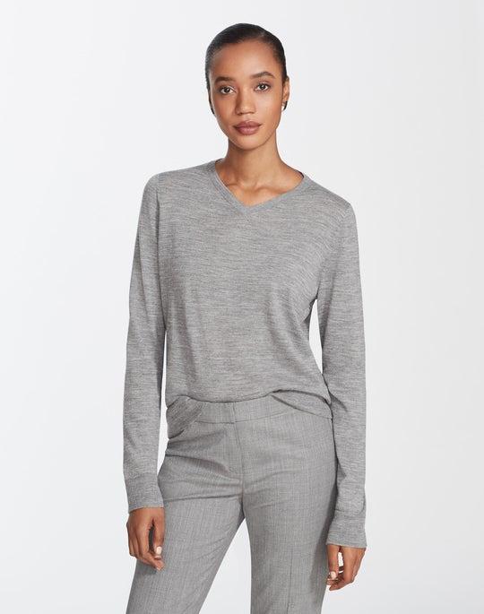 Petite Fine Gauge Merino V-Neck Sweater