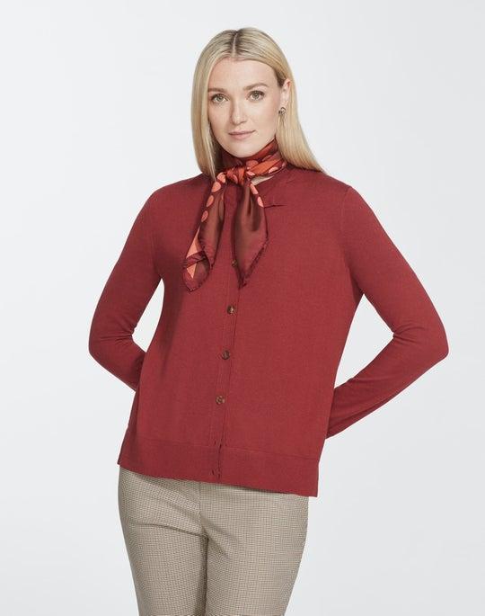 Fine Gauge Merino Button Front Cardigan