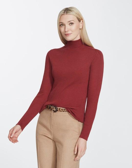 Petite Fine Gauge Merino Ribbed Turtleneck Sweater