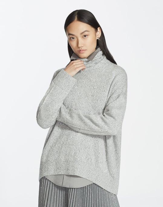 Plus-Size Cashmere Chine Sequin Turtleneck Sweater
