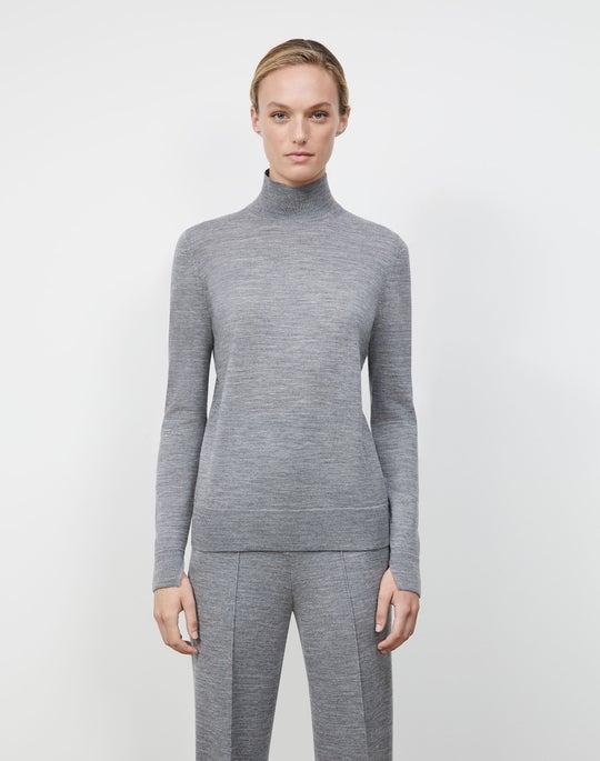 Petite Fine Gauge Merino Split Stand Collar Sweater