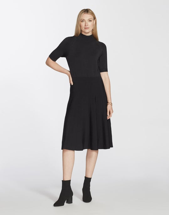 Metropolitan Shine Split Stand Collar Sweater Dress