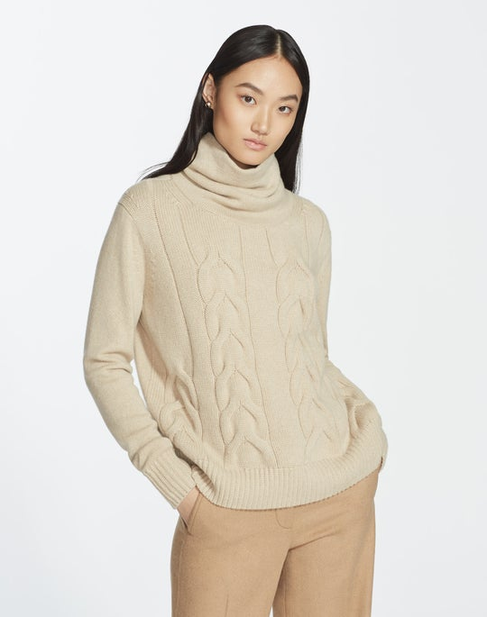 Cashmere Funnel Collar Cable Sweater