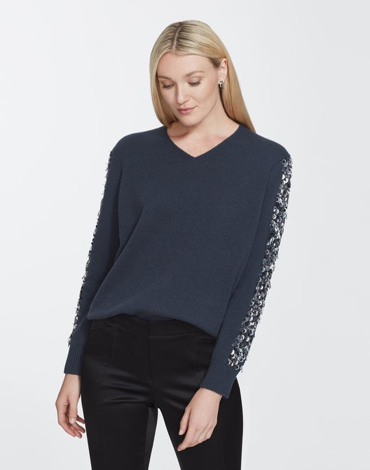 Sequin Cashmere V-Neck Sweater