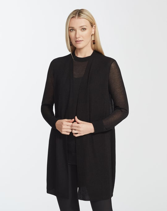 Finespun Voile Sheer Open Front Cardigan