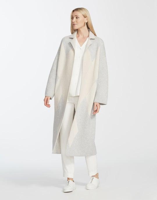 Cashmere Argyle Knit Coat