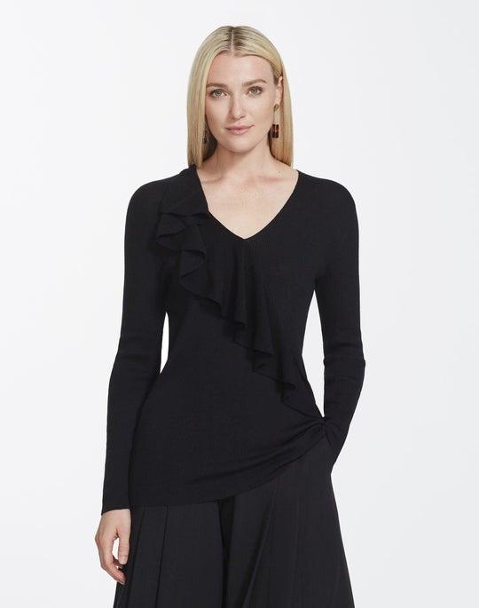 Italian Merino Silk V-Neck Ruffle Sweater