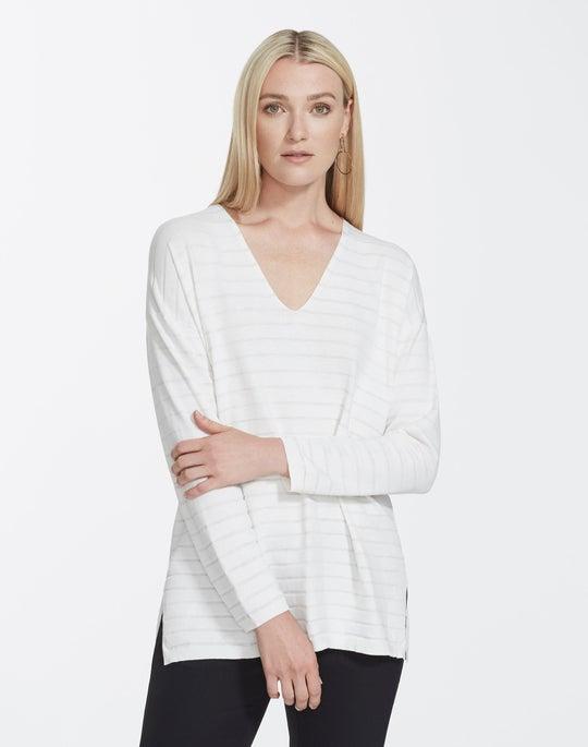 Petite Matte Crepe Stripe V-Neck Pullover