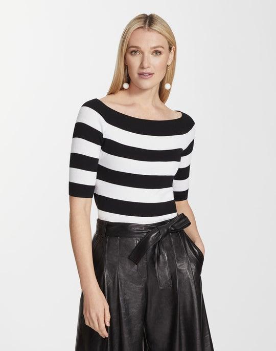 Cotton Crepe Yarn Striped Wide Bateau Neck Sweater